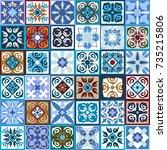 modern set of checkered ceramic ... | Shutterstock .eps vector #735215806