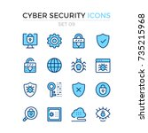 cyber security icons. vector... | Shutterstock .eps vector #735215968