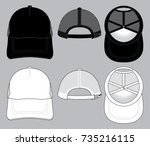 white   black baseball cap for... | Shutterstock .eps vector #735216115