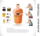 buddhist monk holding alms bowl.... | Shutterstock .eps vector #735216862