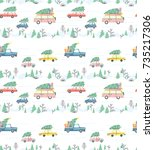 seamless pattern with cars and... | Shutterstock .eps vector #735217306