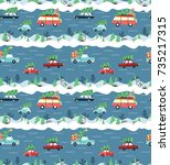 seamless pattern with cars and... | Shutterstock .eps vector #735217315