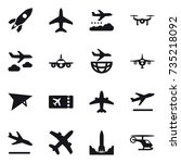 16 vector icon set   rocket ... | Shutterstock .eps vector #735218092