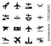 16 vector icon set   rocket ... | Shutterstock .eps vector #735218092