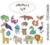 wild jungle animals and birds...   Shutterstock .eps vector #735218608