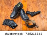 pair of fashion new leather...   Shutterstock . vector #735218866