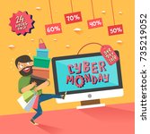 cyber monday banner. man with a ... | Shutterstock .eps vector #735219052