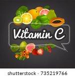 vitaminc banner. beautiful... | Shutterstock .eps vector #735219766
