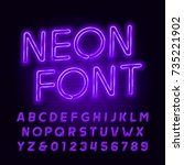 purple neon tube alphabet font. ... | Shutterstock .eps vector #735221902