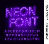 purple neon tube alphabet font. ... | Shutterstock .eps vector #735221902