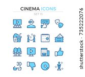 cinema icons. vector line icons ... | Shutterstock .eps vector #735222076