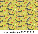seamless vector pattern with... | Shutterstock .eps vector #735222712