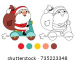 santa claus on a motorcycle... | Shutterstock .eps vector #735223348