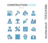 construction icons. vector line ... | Shutterstock .eps vector #735224386