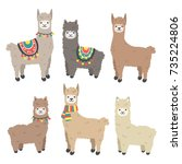 cute llamas and alpacas. funny... | Shutterstock .eps vector #735224806
