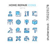 home repair icons. vector line... | Shutterstock .eps vector #735225178