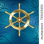 gold jewelry  shiny steering... | Shutterstock .eps vector #735225352