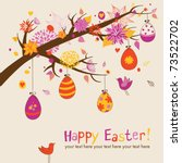 Easter greeting card with hanging eggs on the branch - stock vector