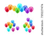 lot flying balloons white... | Shutterstock .eps vector #735227476