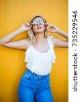 beauty portrait woman in the... | Shutterstock . vector #735229546