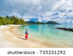 travel tourist woman at french... | Shutterstock . vector #735231292