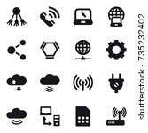 16 vector icon set   share ... | Shutterstock .eps vector #735232402