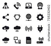 16 vector icon set   share ... | Shutterstock .eps vector #735232402