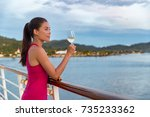 luxury cruise ship vacation... | Shutterstock . vector #735233362