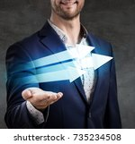 businessman presents three... | Shutterstock . vector #735234508