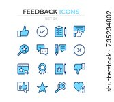 feedback icons. vector line... | Shutterstock .eps vector #735234802