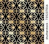 golden seamless pattern in art...   Shutterstock .eps vector #735237016