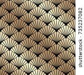 golden seamless pattern in art...   Shutterstock .eps vector #735237082