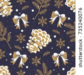 seamless pattern with christmas ... | Shutterstock .eps vector #735240076