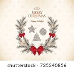 christmas and new year. vector... | Shutterstock .eps vector #735240856