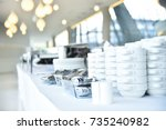 empty catering plates  platters ... | Shutterstock . vector #735240982