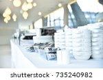 empty catering plates  platters ... | Shutterstock . vector #735240982