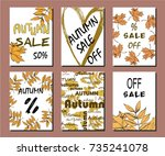card  illustration. autumn sale ... | Shutterstock .eps vector #735241078