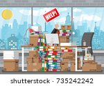 stressed businessman in pile of ... | Shutterstock . vector #735242242