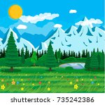summer nature landscape with... | Shutterstock . vector #735242386