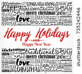 happy holidays and happy new... | Shutterstock .eps vector #735242446