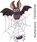 happy bat with spider and web  | Shutterstock .eps vector #735244246
