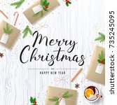 merry christmas background with ... | Shutterstock .eps vector #735245095