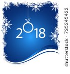 new year on winter blue... | Shutterstock .eps vector #735245422