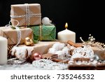 christmas decoration and... | Shutterstock . vector #735246532