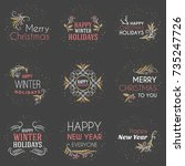 set of merry christmas and... | Shutterstock .eps vector #735247726