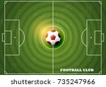 soccer field with football top... | Shutterstock .eps vector #735247966