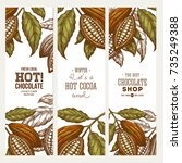 cocoa bean tree banner... | Shutterstock .eps vector #735249388