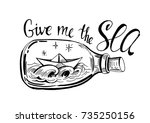 paper boat in the bottle with... | Shutterstock .eps vector #735250156