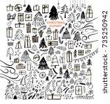 set of gifts  fir trees ... | Shutterstock .eps vector #735250942