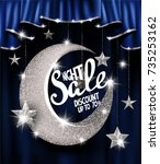 night sale with silver stars... | Shutterstock .eps vector #735253162